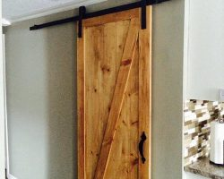Custom Barn Door with Black Metal Hardware