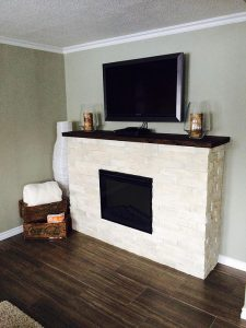 Custom Eletric Fireplace Mantle with Stone Veneer