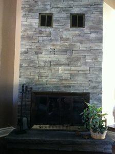 Grey Ledge Stone Wall Fireplace