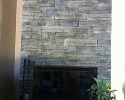 Grey Ledge Stone Wall Fireplace
