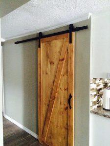 Custom Barn Door with Black Metal Hardware
